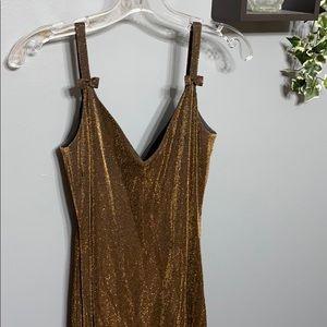 Vintage En Francais Bronze Metallic Dress sz 6